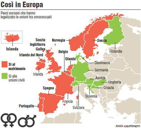 La mappa dei Paesi europei che hanno legalizzato matrimoni e unioni civili tra omosessuali (111mm x 100mm)