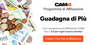 Programma di Affiliazione CAM4: guadagna $2 per ogni nuovo utente