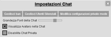 impostazioni chat