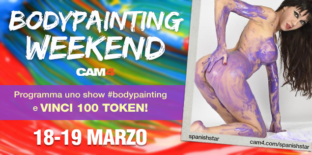 BodyPainting Weekend – Colora il tuo cam show e ricevi fino a 200 Token!