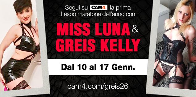 Settimana lesbo con Luna Ramondini & Greis26, dal 10 al 17 Gennaio live su CAM4!