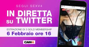 Vinci CAM4 GOLD! Estrazione in diretta Twitter dei vincitori con Sexv4!