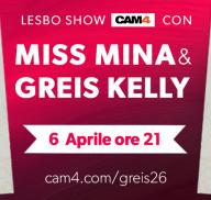 La pornostar Miss Mina debutta in un lesbo show con Greis26 su CAM4!