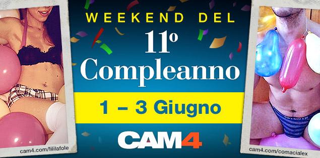 Un sex party lungo 3 giorni per festeggiare l'11° compleanno di CAM4!